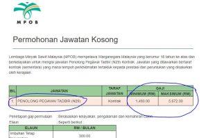 Jawatan Kosong MPOB Lembaga Minyak Sawit Malaysia (Pegawai Tadbir N29)