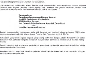 Jawatan Kosong Perbadanan Pembangunan Ekonomi Sarawak (PPES)