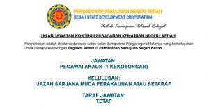 Jawatan Kosong Perbadanan Kemajuan Negeri Kedah