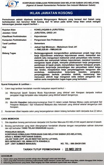 Iklan Jawatan Korporasi Kemajuan Perikanan Dan Nelayan Sabah Ko Nelayan