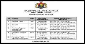 Jawatan Kosong Majlis Perbandaran Batu Pahat (MPBP)