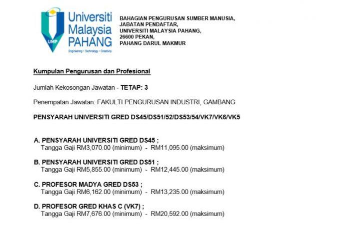 Maklumat Jawatan Kosong Universiti Malaysia Pahang (UMP) - Pensyarah