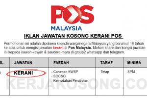 Jawatan Kosong Kerani Pos Malaysia