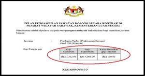 Jawatan Kosong Pejabat Wilayah Sarawak, Kementerian Luar Negeri