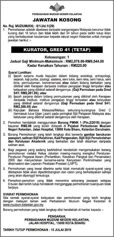 Iklan Jawatan Kosong Perbadanan Muzium Negeri Kelantan min