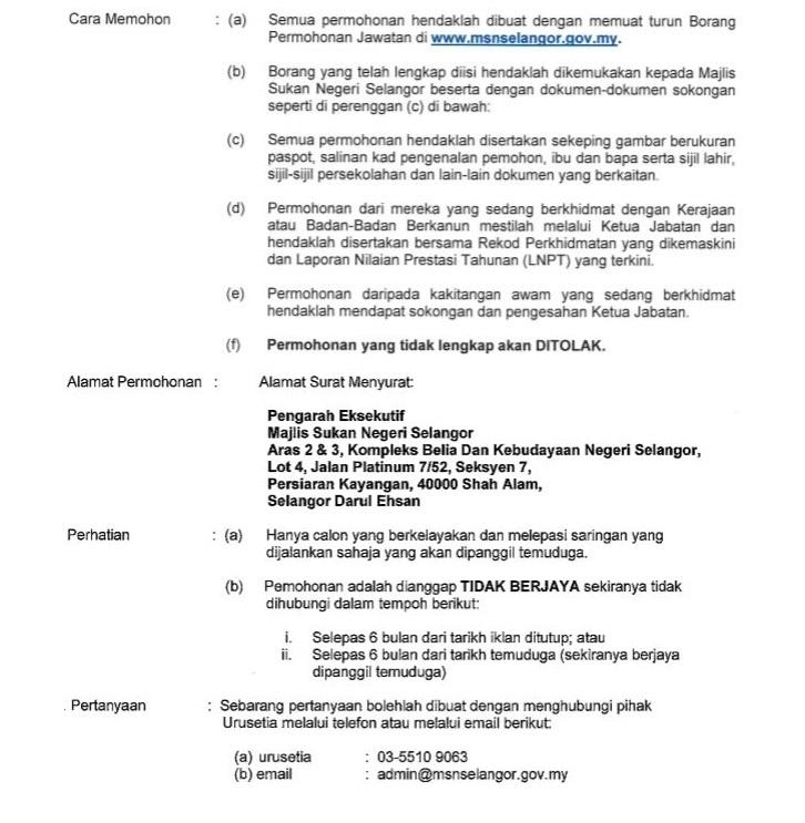 Jawatan Kosong Majlis Sukan Negeri Selangor