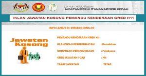 Jawatan Kosong Jabatan Perhutanan Negeri Kedah