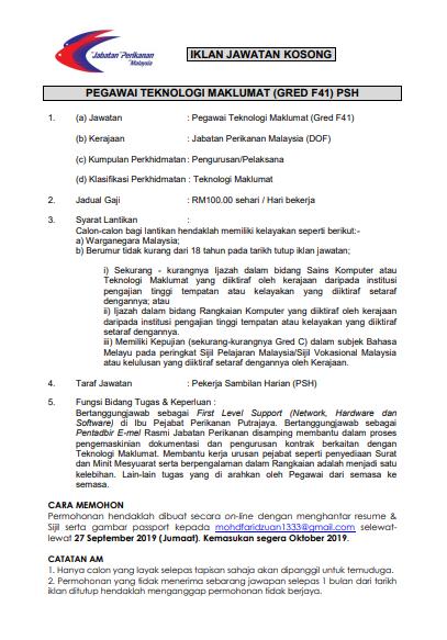 Iklan Jawatan Kosong Jabatan Perikanan Malaysia