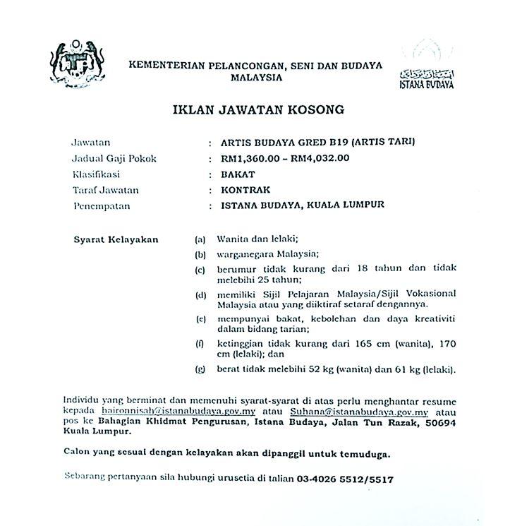Iklan Jawatan Kosong Kementerian Pelancongan Seni Dan Budaya Malaysia