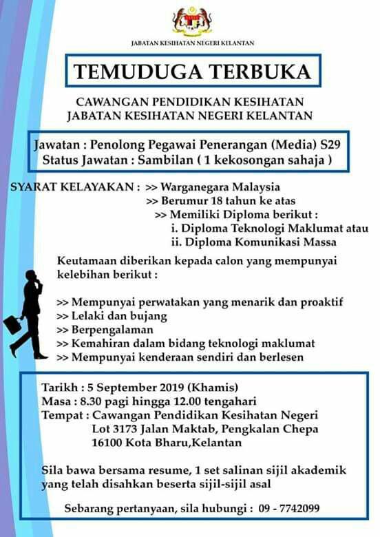 Iklan Temuduga Terbuka Jabatan Kesihatan Negeri Kelantan