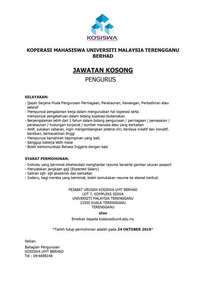 Iklan Jawatan Kosong Koperasi Mahasiswa Universiti Malaysia Terengganu