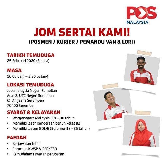 Iklan Jawatan Kosong Pos Malaysia Berhad