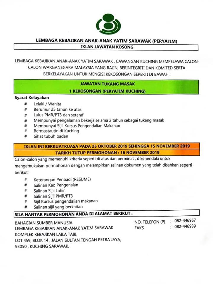 Iklan Jawatan Kosong Lembaga Kebajikan Anak Anak Yatim Sarawak PERYATIM