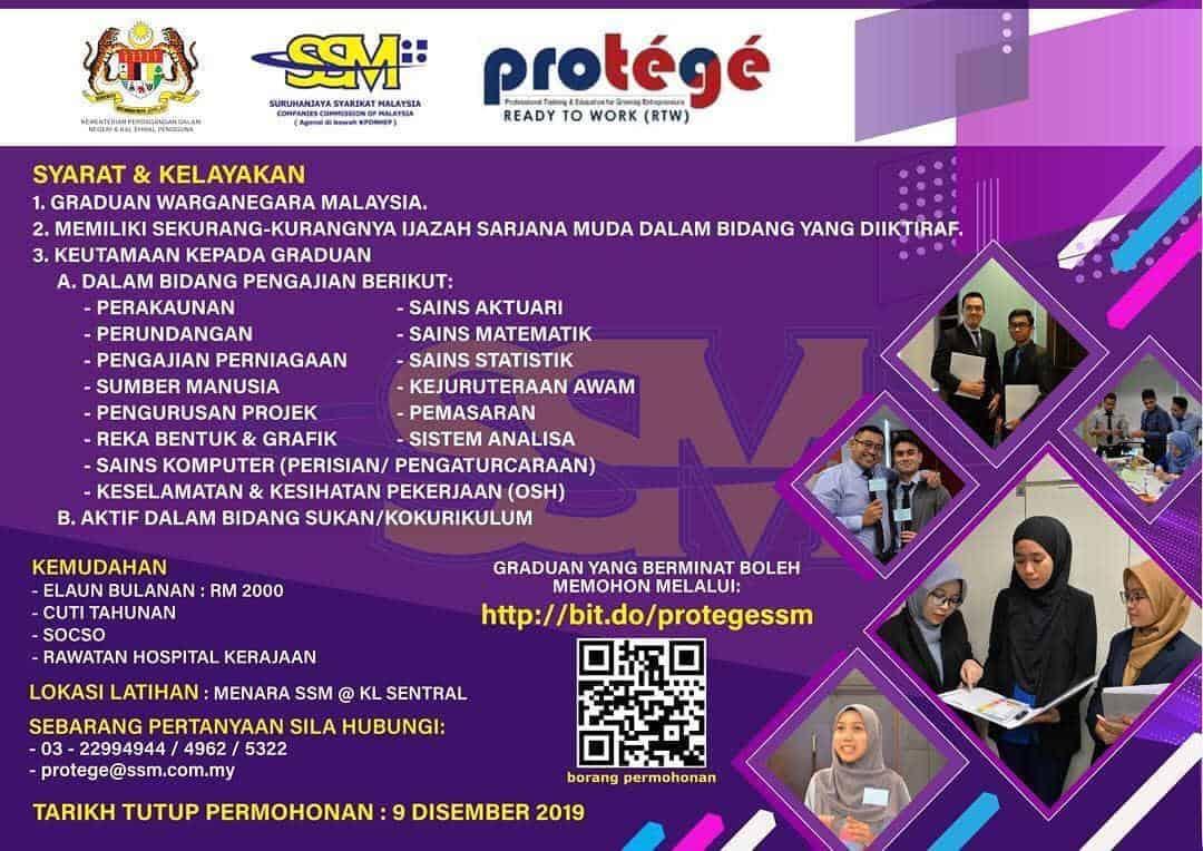 Iklan Jawatan Kosong Protege Suruhanjaya Syarikat Malaysia SSM min