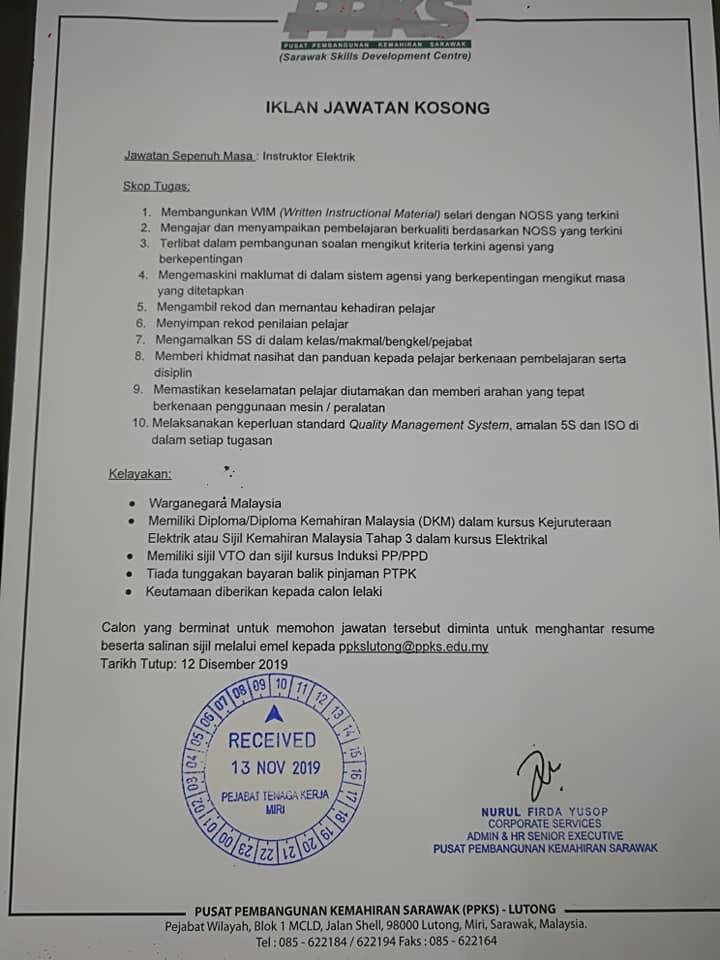 Iklan Jawatan Kosong Pusat Pembangunan Kemahiran Sarawak