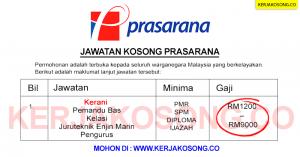 Jawatan Kosong Prasarana Malaysia Berhad