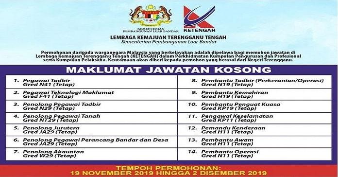 Jawatan Kosong Lembaga Kemajuan Terengganu Tengah Ketengah Jawatan Kosong Kerajaan Terkini 2020