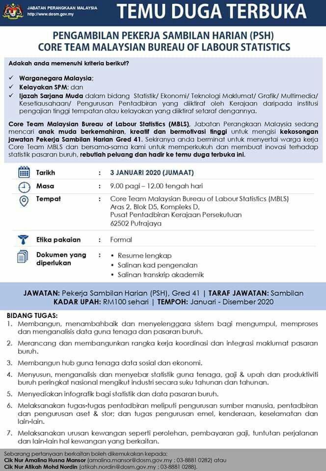 Iklan Jawatan Kosong Jabatan Perangkaan Malaysia