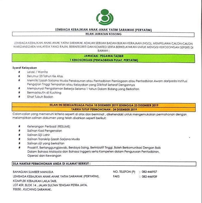 Iklan Jawatan Kosong Lembaga Kebajikan Anak Anak Yatim Sarawak PERYATIM e1577088640260