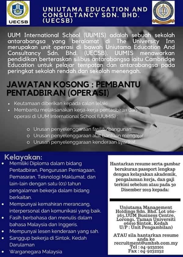 Iklan Jawatan Kosong Uniutama Education Sdn Bhd min