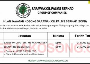 Jawatan Kosong Sarawak Oil Palms Berhad (SOPB)