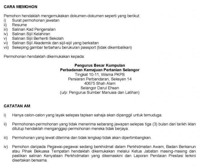 CARA MEMOHON Jawatan Kosong Perbadanan Kemajuan Pertanian Selangor