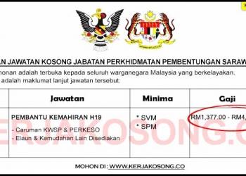 Jawatan Kosong Jabatan Perkhidmatan Pembentungan Sarawak
