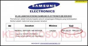 Jawatan Kosong Samsung Electronics (M) Sdn Bhd