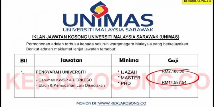 Jawatan Kosong Universiti Malaysia Sarawak UNIMAS