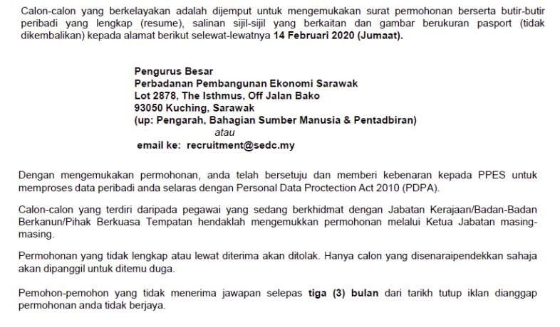 CARA MEMOHON Perbadanan Pembangunan Ekonomi Sarawak SEDC