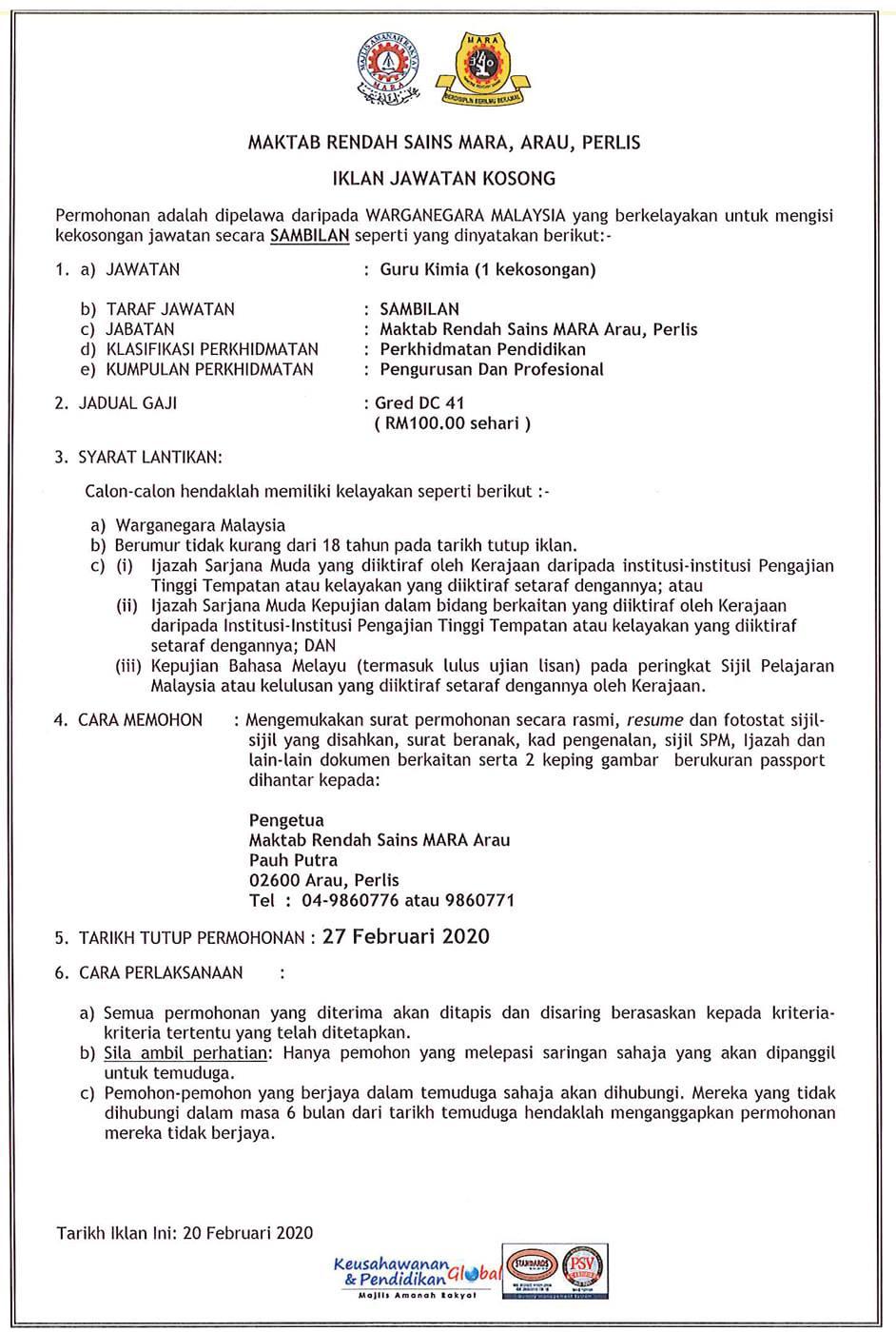Iklan Jawatan Guru MRSM Arau