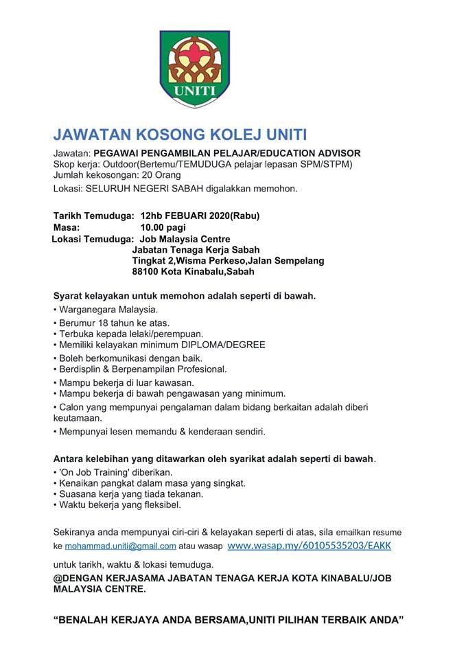 Iklan Jawatan Kosong Kolej Uniti Sabah
