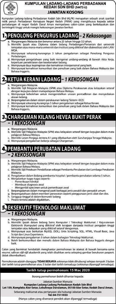 Iklan Jawatan Kosong Kumpulan Ladang Ladang Perbadanan Kedah Sdn Bhd
