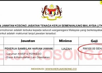 Jawatan Kosong Jabatan Tenaga Kerja Semenanjung Malaysia JTKSM