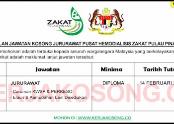 Jawatan Kosong Jururawat Pusat Hemodialisis Zakat Pulau Pinang