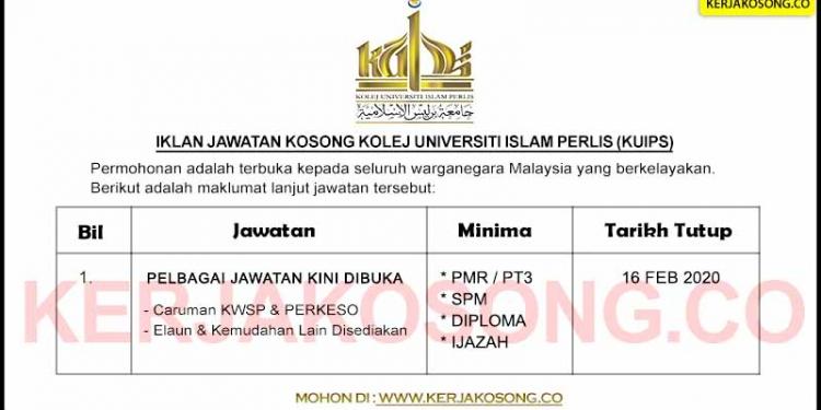 Jawatan Kosong Kolej Universiti Islam Perlis KUIPs