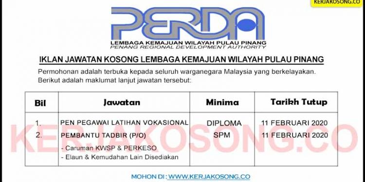 Jawatan Kosong Lembaga Kemajuan Wilayah Pulau Pinang PERDA