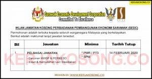 Jawatan Kosong Perbadanan Pembangunan Ekonomi Sarawak (SEDC)
