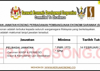 Jawatan Kosong Perbadanan Pembangunan Ekonomi Sarawak SEDC