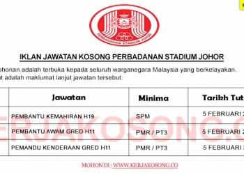 Jawatan Kosong Perbadanan Stadium Johor