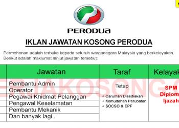 Jawatan Kosong Perodua Table 2020
