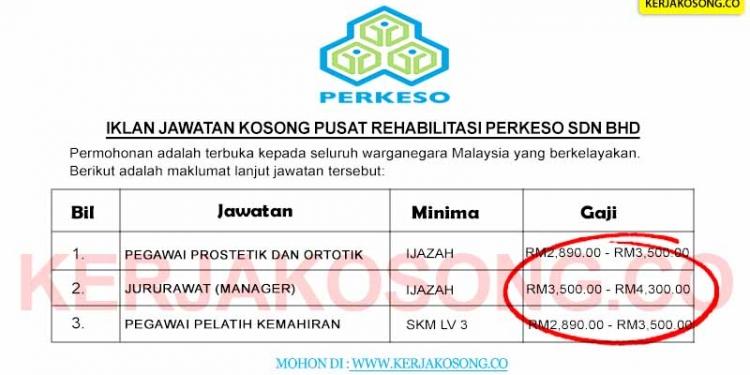 Jawatan Kosong Pusat Rehabilitasi PERKESO Sdn Bhd