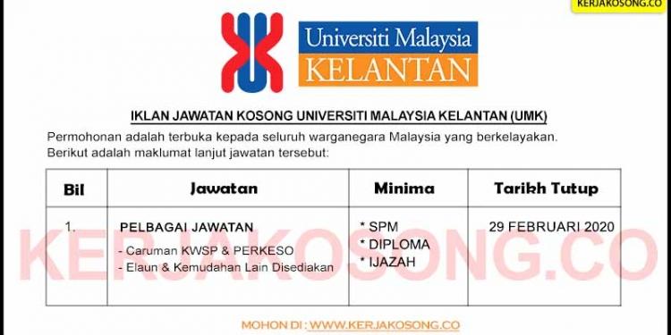 Jawatan Kosong Universiti Malaysia Kelantan UMK