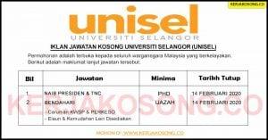 Jawatan Kosong Universiti Selangor (UNISEL)