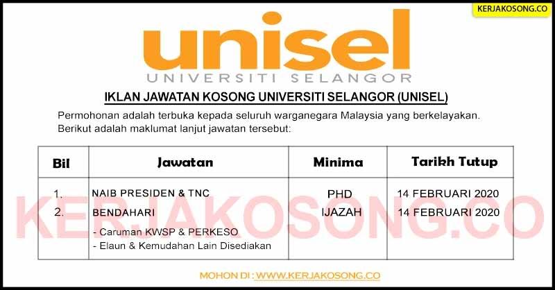 Jawatan Kosong Universiti Selangor Unisel Jawatan Kosong Kerajaan Terkini 2020