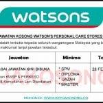 Jawatan Kosong Watson's Personal Care Stores Sdn Bhd