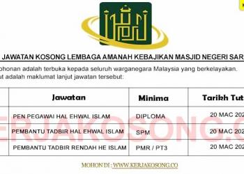 Jawatan Kosong Lembaga Amanah Kebajikan Masjid Negeri Sarawak (LAKMNS)