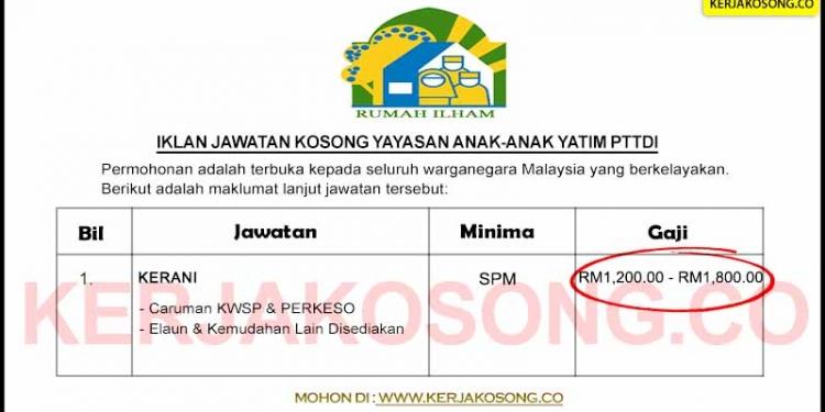 Jawatan Kosong Yayasan Anak-Anak Yatim PTTDI ~ Kerani