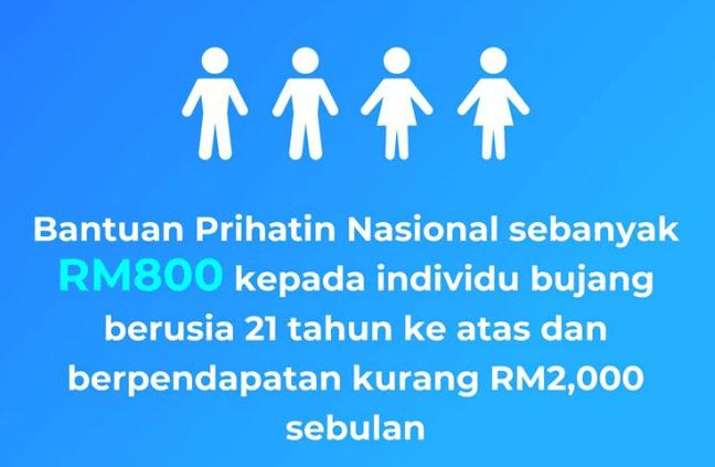 bantuan prihatin nasional bujang rm800