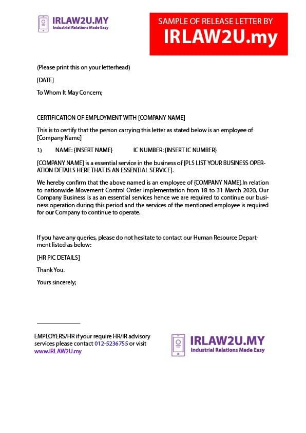 Contoh Surat Pelepasan Perjalanan PKP Untuk Peniaga
